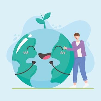 Red de planeet, de jongen en de aarde brengen gelukkige karakters samen vectorillustratie in kaart