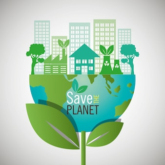 Red de planeet. eco-vriendelijk ontwerp