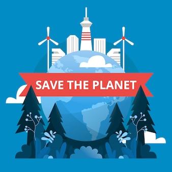 Red de planeet en maak de aarde schoon