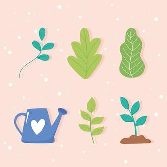 Red de planeet, gieter plantengroei en bladeren iconen