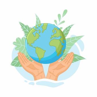 Red de planeet. handen met wereldbol, aarde. aarde dag concept. illustratie van pictogrammen over milieubescherming en natuurbehoud.