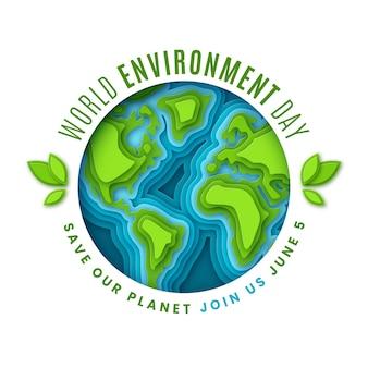 Red de planeet in papierstijl