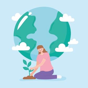 Red de planeet, jonge vrouw aanplant en aarde kaart wolken cartoon vectorillustratie