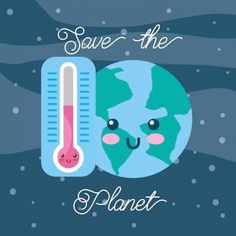 Red de planeet kawaii-wereld en thermometer