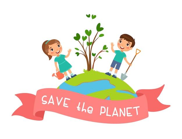 Red de planeet. leuke jongen en meisje plantten een boom. concept op het thema van ecologie, milieubescherming