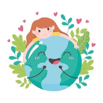 Red de planeet, meisje knuffelen aarde kaart bladeren en harten vectorillustratie