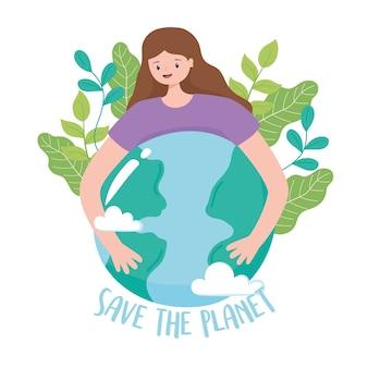Red de planeet, meisje knuffelen aarde kaart met bladeren cartoon vectorillustratie