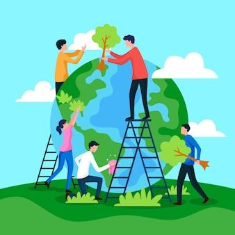 Red de planeet mensen die de aarde herstellen