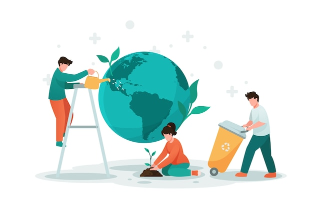 Red de planeet met mensen en aarde