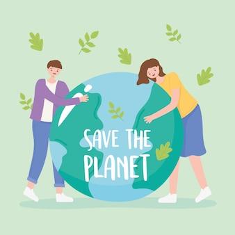 Red de planeet, vallende bladeren en jongensmeisje met aarde kaart vectorillustratie