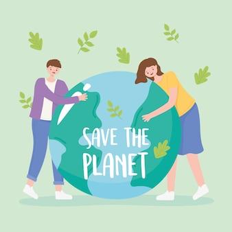 Red de planeet, vallende bladeren en jongensmeisje met de illustratie van de aardekaart