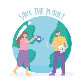 Red de planeet, vrouw en man zorg aarde cartoon vectorillustratie