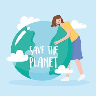 Red de planeet, vrouw knuffels aarde kaart met wolken vectorillustratie