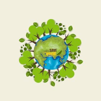 Red de wereld achtergrond met bomen