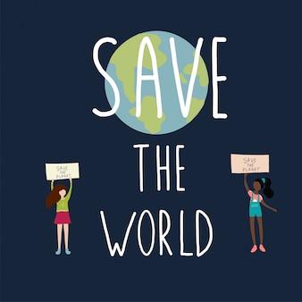 Red de wereld die de meisjes zeggen en de aarde