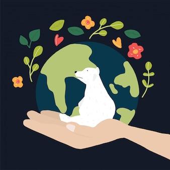 Red de wereld en witte beren