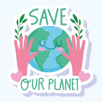 Red de wereld handen met planeet en gebladerte natuur cartoon sticker