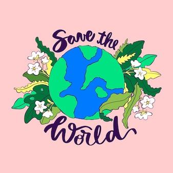 Red de wereld met bloemenconcept