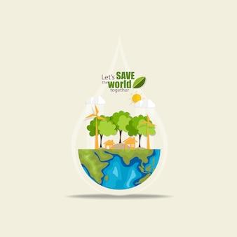 Red de wereld met bomen