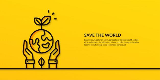 Red de wereld met handen met aarde, platte natuur ecologie banner