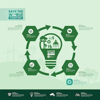 Red de wereld samen groene ecologie infographic