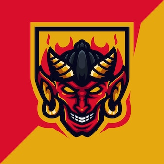 Red devil head mascot gaming logo template voor esports streamer facebook youtube