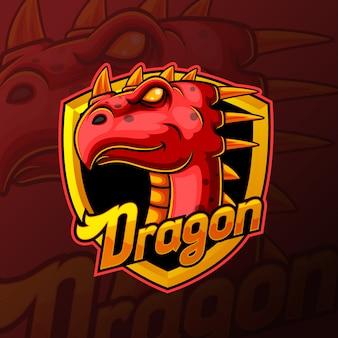 Red dragon hoofd mascotte e sport logo ontwerp