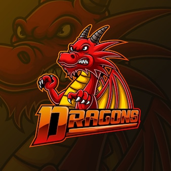 Red dragon mascotte e sport logo ontwerp