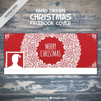 Red facebook omslag met de hand getekende kerst krans