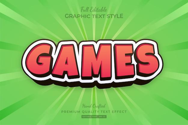 Red games cartoon bewerkbare teksteffect tekenstijl