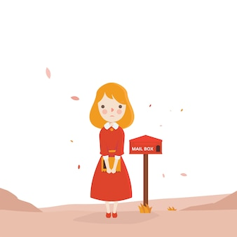 Red girl waiting mail