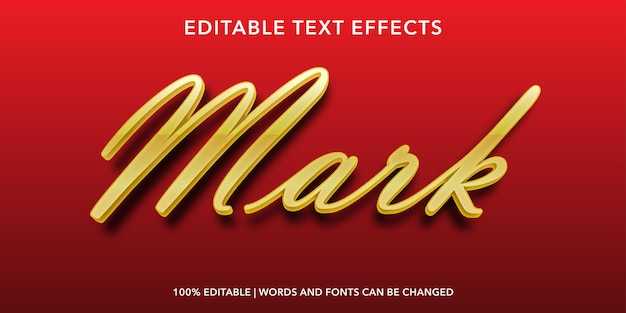 Red gold mark bewerkbaar teksteffect