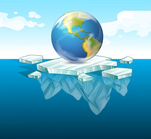Red het aardthema met aarde op ijs