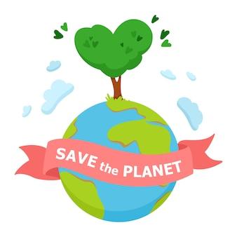 Red het concept van de planeet