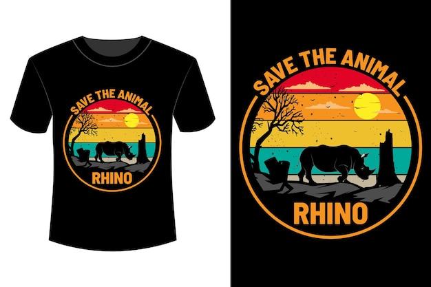Red het dierlijke neushoorn t-shirtontwerp vintage retro