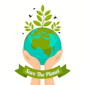 Red het ontwerp van de planeet