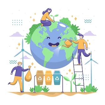 Red het planeet geïllustreerde thema