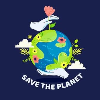 Red het planeetconcept met bloemen en vegetatie
