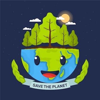 Red het planeetconcept met bos