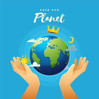 Red het planeetconcept met handen en kroon