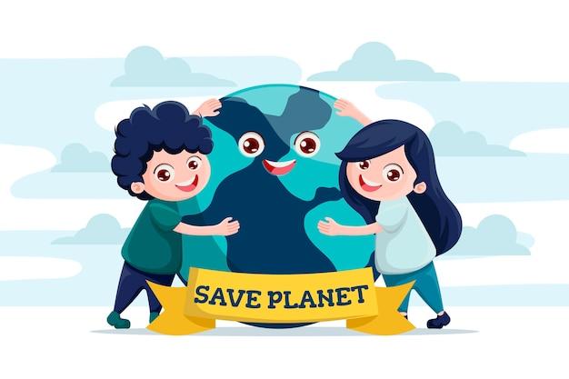 Red het planeetconcept met kinderen die de aarde knuffelen