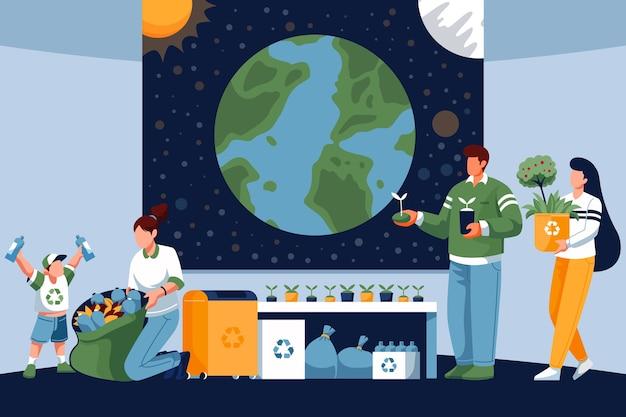 Red het planeetconcept met mensen die afval verzamelen