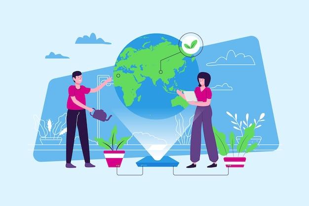 Red het planeetconcept met mensen die de aarde analyseren