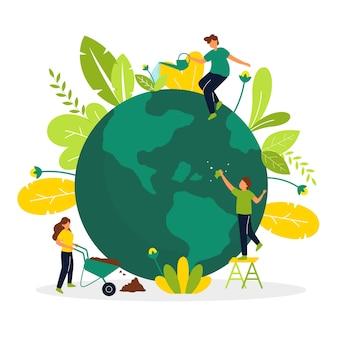 Red het planeetconcept met mensen die voor de aarde zorgen