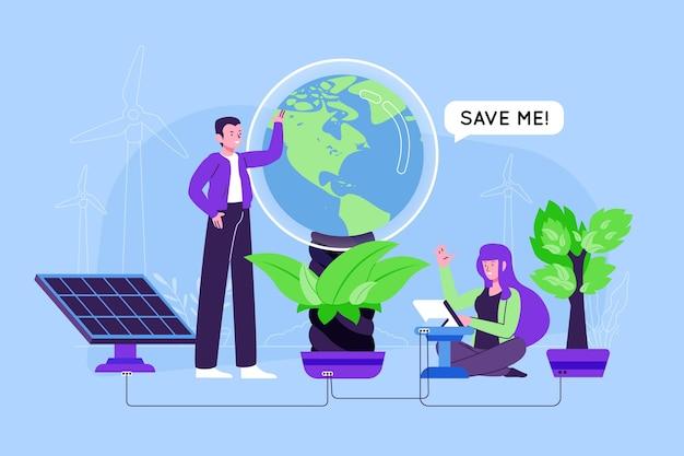 Red het planeetconcept met mensen en aarde