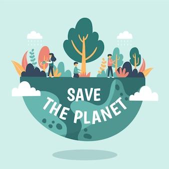 Red het planeetconcept met mensen in de natuur