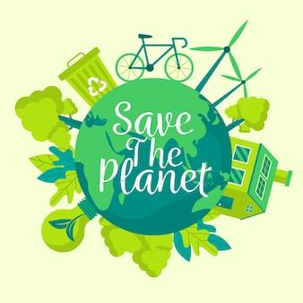 Red het planeetconcept met recycling