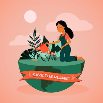 Red het planeetconcept met vrouw en aarde