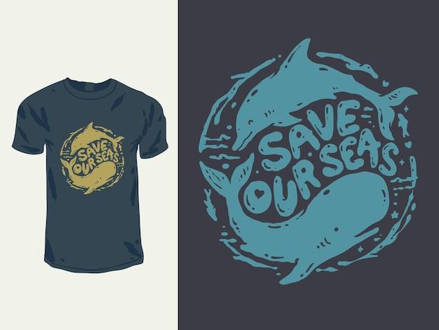 Red het t-shirtontwerp van de oceaanwalvis en dolfijn