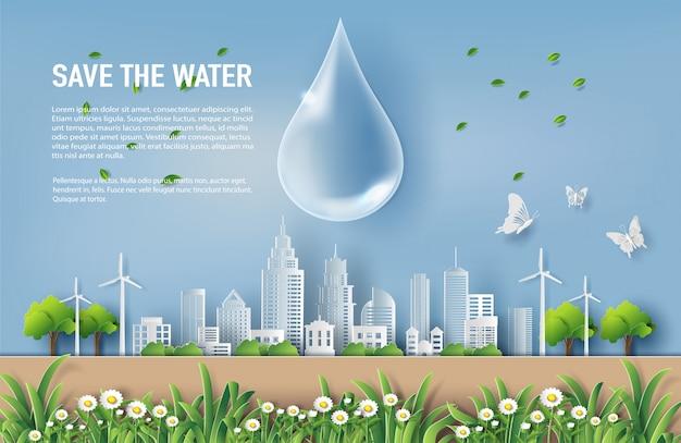 Red het waterconcept met landschap van de stad.